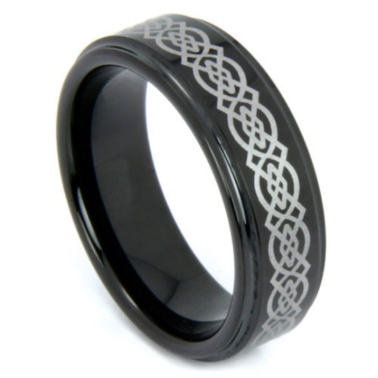 Black Tungsten Ring Laser Etched Celtic Design 6MM Wedding Band High Polish Finish Comfort Fit Size 5 6 7 8 9 Half Sizes