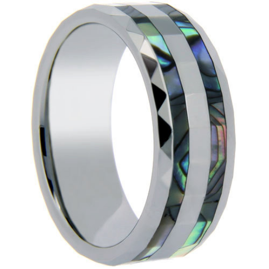 Tungsten Ring Double Row Abalone Shell Inlay 8MM Prism Edges Band Unique Design Polished Ring FREE gift Box Size 6 7 8 9 10
