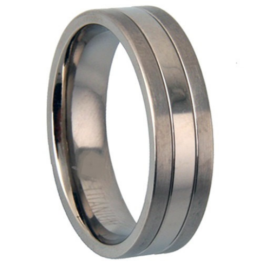 Titanium & Silver Wedding Band 8mm Width Polished Satin Size 9 10 11 12 13