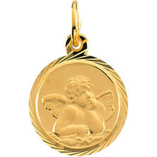 Angel Pendant in 14kt White Gold or 14kt Yellow Gold Angel Medallian with Diamond Cut Edges in 8mm or 12mm Diameter