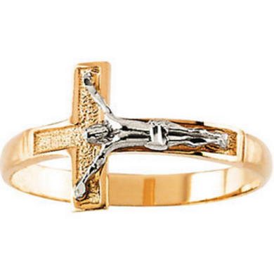 Religious Jewelry Crucifix Ring 14kt Gold Two Tone Design Cross Ring Size 3 4 5 6 7 8 9 Plus Half Sizes