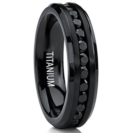 Women's Titanium Eternity Wedding Band 6mm Black Cubic Zirconia Gemstones Channel Set Polished Edges Size 4 4.5 5 5.5 6 6.5 7 7.5 8 8.5 9