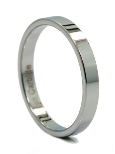 Tungsten Carbide 3MM Pipe Cut Flat Wedding Band Ring Comfort Fit Design Sizes 4 4.5 5 5.5 6 6.5 7 7.5 8 8.5 9 9.5 10 10.5 11 11.5 12