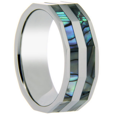 Tungsten Ring Double Row Abalone Shell Inlay 6MM 8MM Prism Band Unique Design Polished Ring FREE gift Box Size 6 7 8 9 10