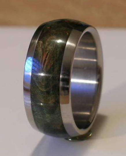 Tungsten Wedding Band Green Maple Burl Wood Ring Mens or Ladies Bands Available in sizes 4-17