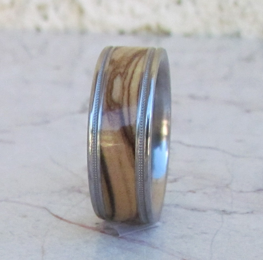 Tungsten Ring Bethlehem Olive Wood Mens or Ladies Wedding Band Milgrain Design in sizes 4 5 6 7 8 9 10 11 12 13 14 15 16 17 HandCrafted