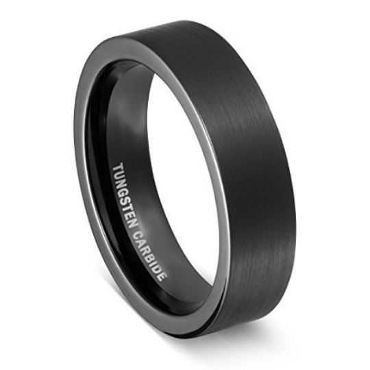 Black Tungsten Carbide Pipe Cut 6mm width Comfort Fit Wedding Band Sizes 6 6.5 7 7.5 8 8.5 9 9.5 10 10.5 11 11.5 12 12.5 13 13.5 14