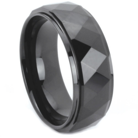 Black Tungsten Ring Prism Multi Faceted Design Step Down Comes in 8MM Comfort Fit Sizes 9 11 12 13 14