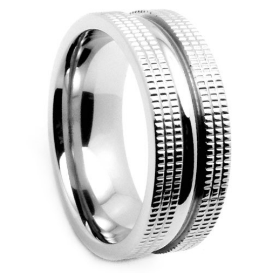 Titanium 6mm & 8MM Wedding Band Design Miligrain Unique Band FREE gift Box Size 5 to 14