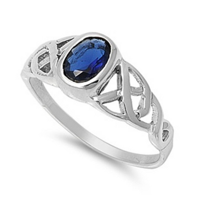 Celtic Design Sterling Silver Ring with Oval Cut Blue Sapphire Cubic Zirconia Gemstone HandCrafted Size 5 6 7 8 9