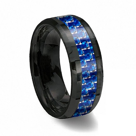 8mm Black Tungsten Wedding Band Blue & White Line Carbon Fiber Beveled Edge Unisex Sizes 6 6.5 7 7.5 8 8.5 9 9.5 10 10.5 11 11.5 12 12.5 13