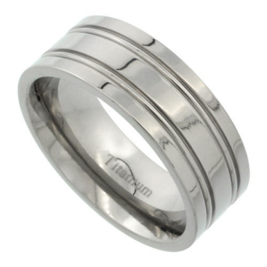 Titanium Wedding Band Comfort Fit Flat Ring 8mm Width Polished Finish Four Lined Grooves Men or Womens Size 7 8 9 10 11 12 13 14