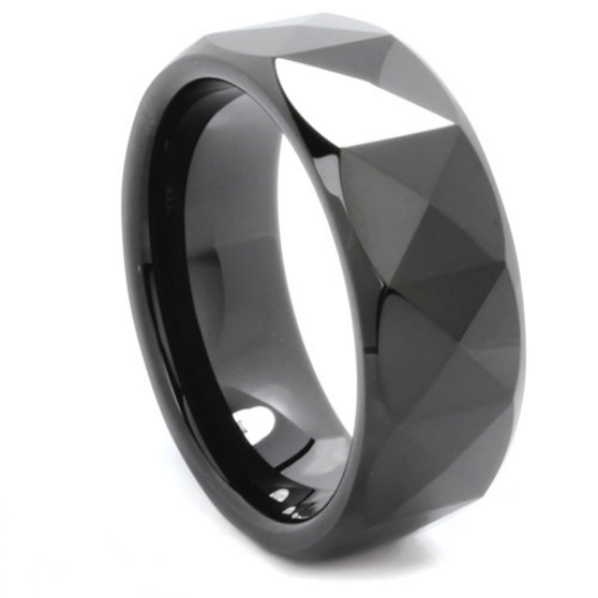 Tungsten Ring Prism Multi Faceted Design Comes in 8MM Comfort Fit Sizes 9 10 11 12 13