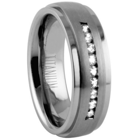 Titanium Wedding Band 7mm Width 9 Genuine Diamonds Channel Set Satin & Polished Edges Design Comfort Fit Design Size 5 6 7 8 9 10 11 12