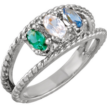 Mothers Ring 14kt White Gold 5X3mm Oval Stones Emerald Cubic Zirconia & Blue Topaz or any Birthstones Preffered Sz 3 4 5 6 7 8 9 Half Sizes
