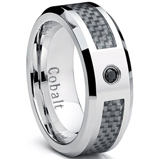 Cobalt Ring White Carbon Fiber Inlay Genuine Black Diamond Wedding Band 8mm Comfort Fit  Polished Edges Sizes 8 9 10 11 12