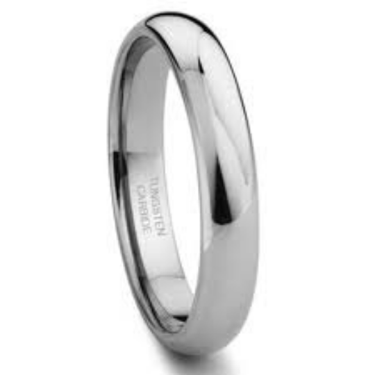 Tungsten Carbide 4MM Plain Dome Wedding Band Ring High Polished Comfort Fit Design Size 4-13