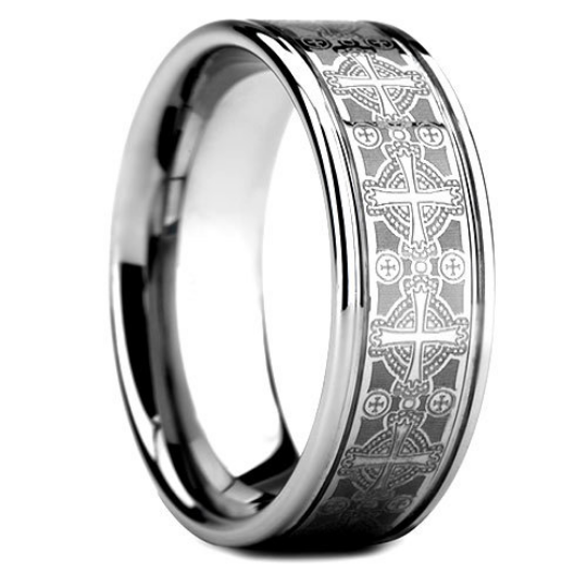 Tungsten 8MM Wedding Band Cross Laser Design High Polish Finish Comfort Fit Size 8 9 10 11 12 13
