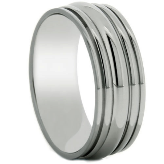 Titanium 8MM Ring Wedding Band Carved Grooved Design Polish Finish Wedding Band Ring FREE gift Box Size 5 to 13
