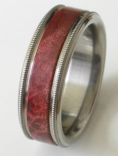 Titanium Pink Ivory Wood Wedding Band Custom Designed Ring His or Hers UNIQUE Milgram finish Rings Sizes 4-18