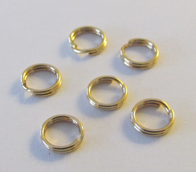 6 Pieces 14kt Yellow Gold Filled Split Ring Round 6.4mm