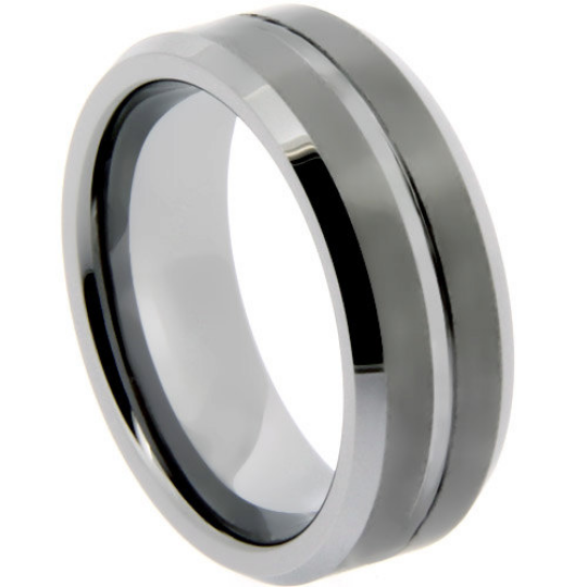Tungsten Ring Matte Finish Center Groove Wedding Band 8mm Wide Comfort Fit Size 11 12 13 14