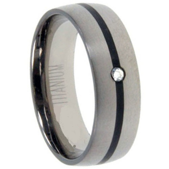 Titanium Wedding Band 7mm Round Genuine Diamond Channel Set Satin Black Antique Design Size 8 9 10 11 12