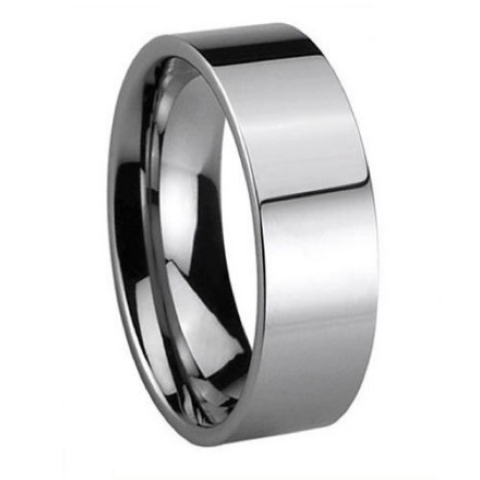 Tungsten Carbide 8MM Flat Pipe Cut Wedding Band Ring Polished Comfort Fit Design Size 6 6.5 7 7.5 8 8.5 9 9.5 10 10.5 11 11.5 12 12.5 13