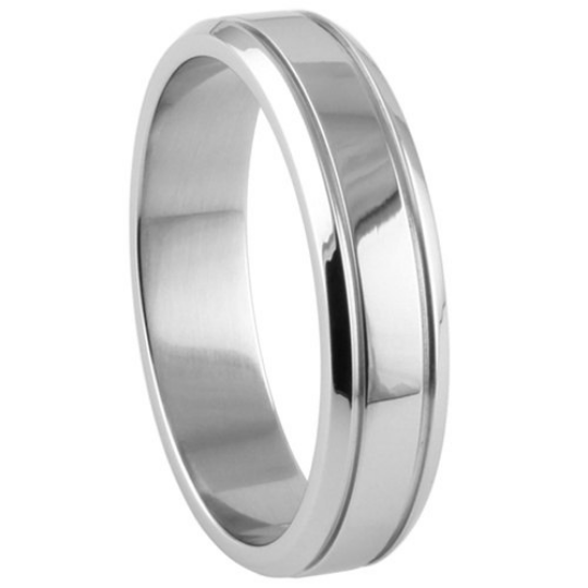 Silver Wedding Band Sterling 925 Polished Finish 7mm Custom Made Double Groove Design Size 5 6 7 8 9 10 11 12 13 14 15
