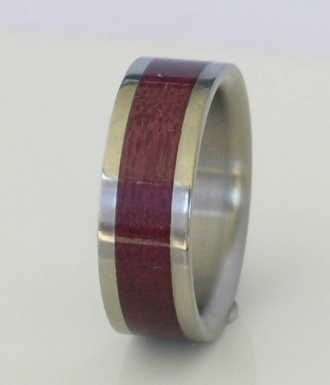Titanium Wood Ring Custom Wedding Band Exotic Purple Heart Wood Inlay Mens Ladies Rings Available in sizes 4-18