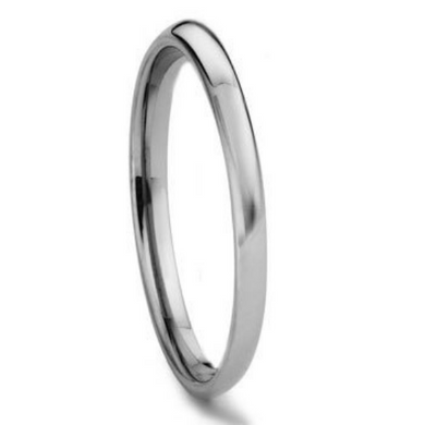 Tungsten Carbide 2MM Plain Dome Wedding Band Ring Size 4-11 High Polished Comfort Fit Design