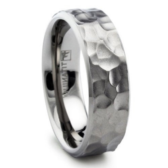 Hammer Titanium Wedding Band 8mm Width Comfort Fit Design Men & Women Available in Sizes 8 8.5 9 9.5 10 10.5 11 12