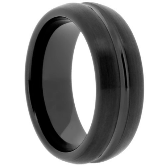 High Tech Ceramic Black Wedding Band 8mm Ring Grooved Dome Style Sz 6 -13 & Half Sizes