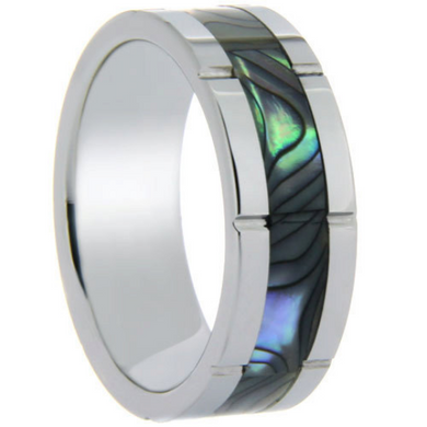 Tungsten Ring Abalone Shell Inlay 8MM Band Unique Design Polished Ring FREE gift Box Size 6 7 8 9 10 11 12