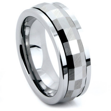 Tungsten Ring Moving Center Spinner Multi Faceted Design Comes in 6MM & 8MM Comfort Fit Sizes 5 6 7 8 9 10 11 12 13