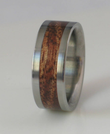 Tungsten Wedding Band Inlaid with Hawaiian Koa Wood Custom Made Comfort Fit Rings Available for Men and Women sizes 4-18