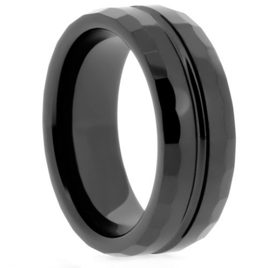 High Tech Ceramic Black Wedding 8mm Band Unique Diamond Cut Design Sz 6 13 & Half Size