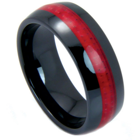 Black Wedding Band 8mm Red Carbon Fiber Dome Ring High Tech Ceramic Size 7 - 13