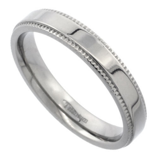 Titanium 4mm Flat Wedding Band Ring Millgrain Edges Highly Polished Comfort Fit sizes 5 to 14
