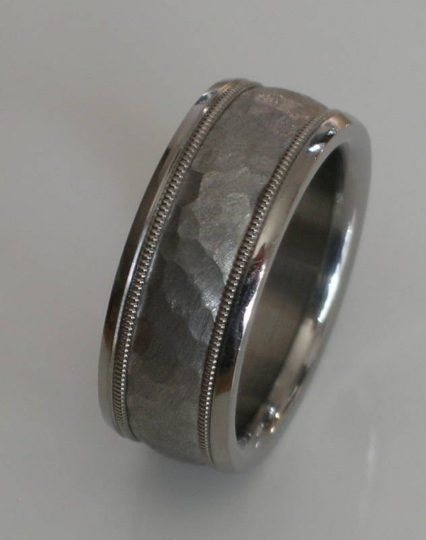 Custom Made Tungsten and Titanium Comfort Fit Wedding Band Hammered Titanium Inlay with Tungsten Milgrain Design Available sizes 4-18
