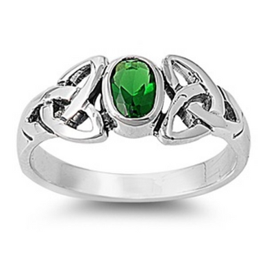 Celtic Design Sterling Silver Ring with Oval Cut Emerald Cubic Zirconia Gemstone HandCrafted Size 6