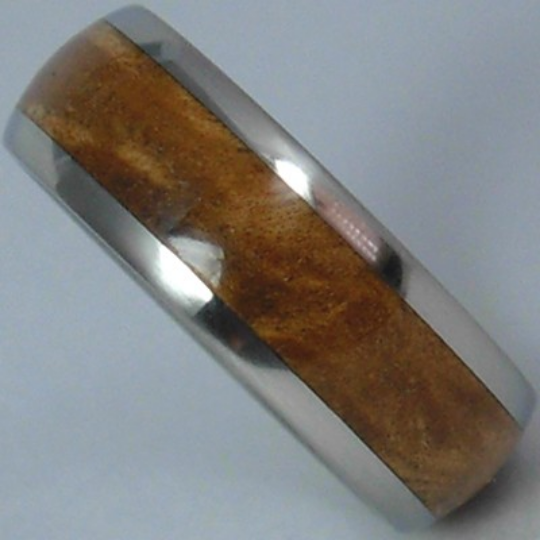 Custom Titanium Wood Wedding Band Exotic Sugar Gum Wooden Inlay Rings available for Men and Ladies Size 4-17 Bands