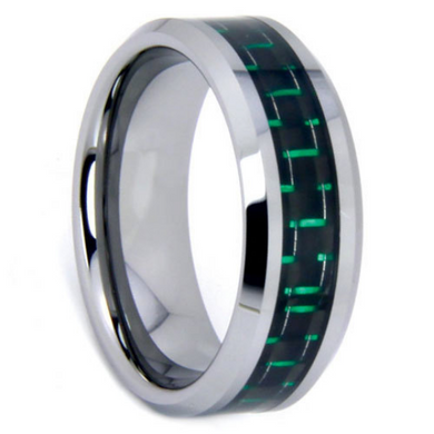 Tungsten Rings Green Carbon Fiber Inlay Wedding Bands 8mm Wide Comfort Fit Size 7 to 12.5 + Half Sizes