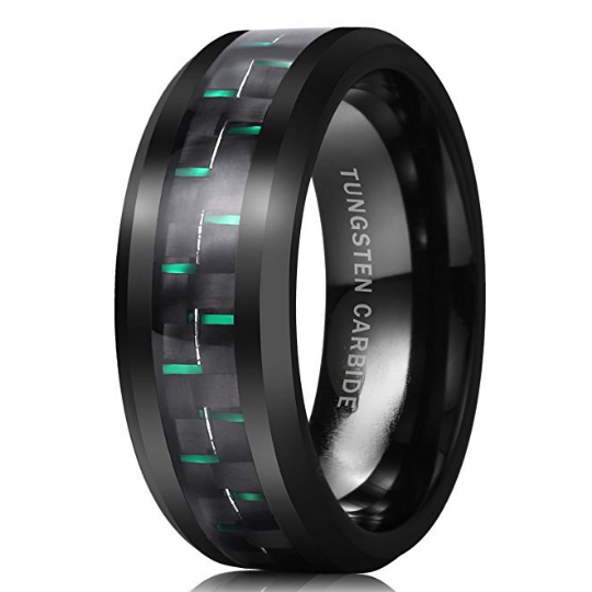 8mm Black Tungsten Wedding Band Green Carbon Fiber Inlay Beveled Edge Unisex Sizes 7 7.5 8 8.5 9 9.5 10 10.5 11 11.5 12 12.5 13 13.5 14