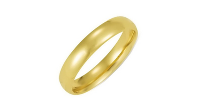 14kt Yellow Gold Wedding Band 4mm Half Dome High Polish Design Custom Made Size 4 5 6 7 8 9 & 1/4 Size increments