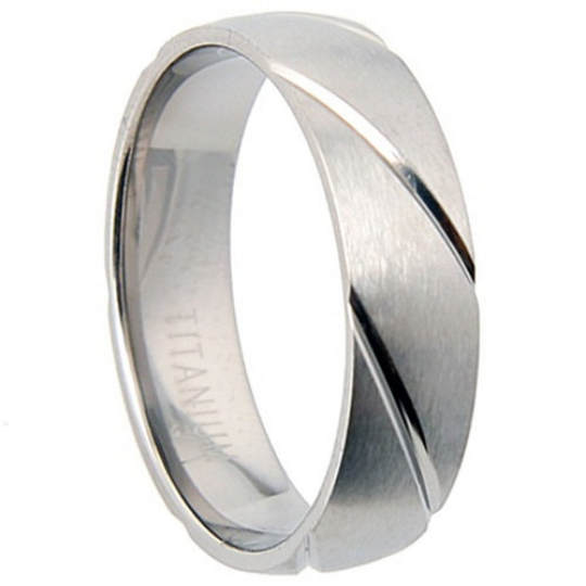 Titanium Wedding Band Comfort Fit Ring 6mm Width Half Dome Matte Finish Grooved Men or Womens Size 7.5 8.5 9.5 10.5 11.5