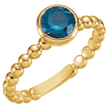 14kt Yellow Gold Stackable Ring Blue Topaz Mothers Birthstone Ring