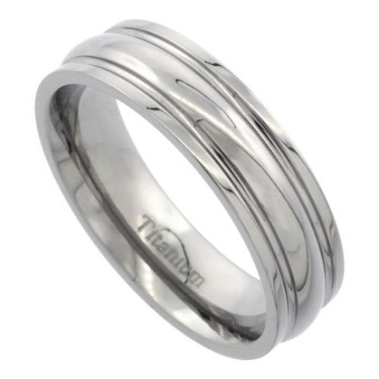 Titanium 6mm Wedding Band Ring Convex Design Highly Polished Comfort Fit sizes 7 to 14