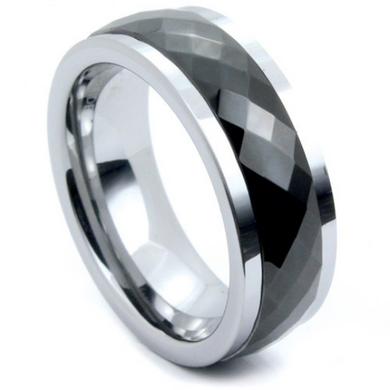 Tungsten Ring Moving Center Spinner Black Prism Multi Faceted Design Comes in 8MM Comfort Fit Sizes 12 13