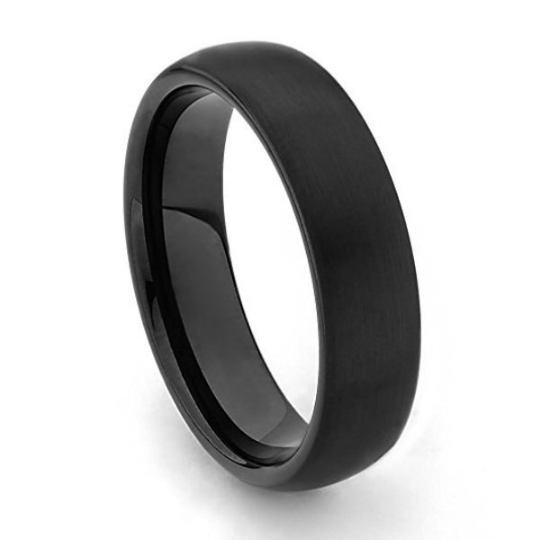 Black Tungsten Carbide Dome 6mm width Comfort Fit Wedding Band Sizes 5 5.5 6 6.5 7 7.5 8 8.5 9 9.5 10 10.5 11 11.5 12 12.5 13 13.5 14 15